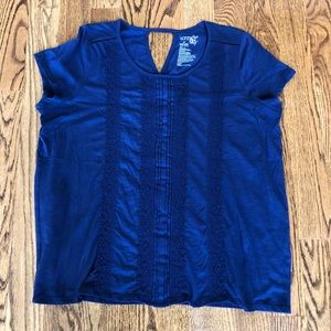 Terra and Sky 1X lace detail blue top